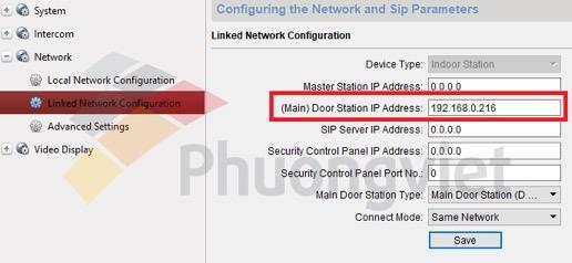 Nhập địa chỉ IP của chuông sảnh vào ô khoanh đỏ